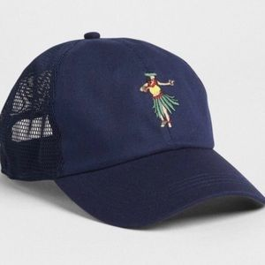 GAP Hula-girl embroidered navy ball cap one size